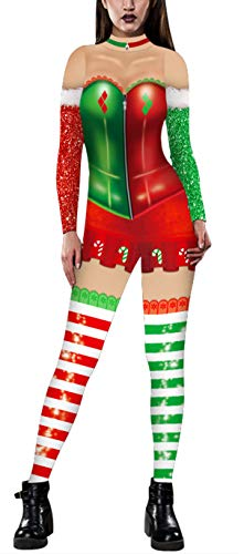 Ainuno Holiday Jumpsuits for Women Sexy Christmas Onesies Onesie Adult Costume Candy Cane L