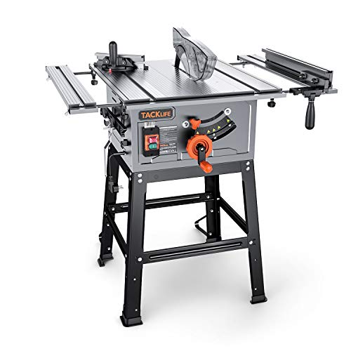Table Saw, TACKLIFE 10-Inch 15-Amp Table Saw, 24T Blade, Cutting Speed up to 4800RPM, Aluminum Extension Table, 45ºBevel Cutting, Jobsite Table Saw with Stand, Push Bar & Miter Gauge