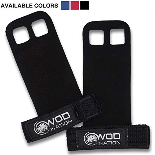 WOD Nation Leather Barbell Gymnastics Grips Perfect Pull-up Training, Kettlebells Crossfit (Black - Large)