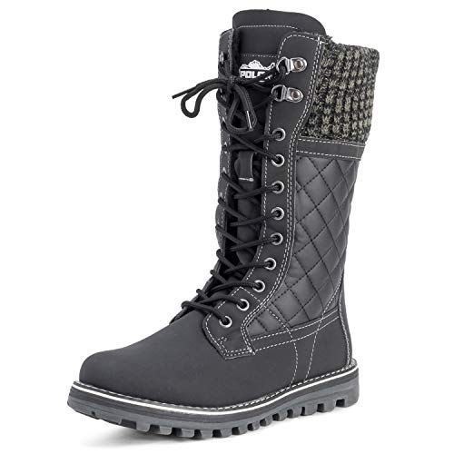 POLAR Womens Winter Thermal Snow Outdoor Warm Mid Calf Waterproof Durable Boot - Black Leather - US6/EU37 - YC0379
