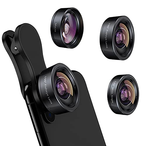 iPhone Camera Lens 3 in 1 Phone Lens Kit, 198 Fisheye Lens + 120 Super Wide-Angle Lens + 20x Macro Lens for iPhone Samsung Android Smartphone