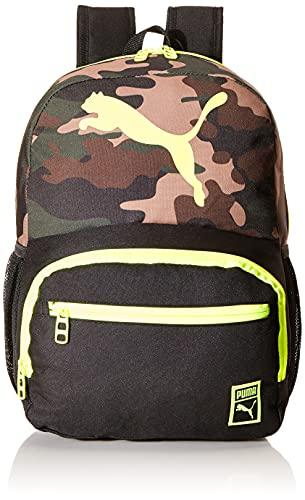 PUMA Boys' Little Backpacks, Black/Yellow, Youth