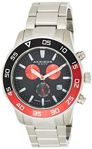 Akribos Multifunction High Tech Smartwatch - Analog-Digital Display Watch, Health Stats Tracking - 3 Digital Subdials on Stainless Steel Bracelet- AK1095 (Black Dial Black Band)