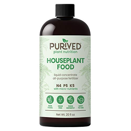 Purived Liquid Fertilizer for Indoor Plants   20oz Concentrate   Makes 50 Gallons   All-Purpose Liquid Plant Food for Potted Houseplants   All-Natural   Groundwater Safe   Easy to Use   Made in USA