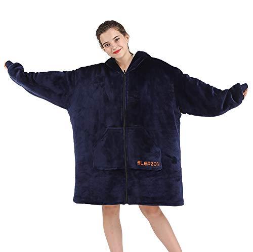 SLEPZON Blanket Hoodie | Oversized Wearable Blanket - Deep Pockets, Comfy Sleeves, Front Zipper - Deluxe Fleece Sweatshirt Blanket - Navy