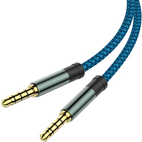 AUX Cable, [10ft / 2 Pack Copper Shell, Hi-Fi Sound] 3.5mm 1/8' Auxiliary 4 pole stereo Audio Nylon Braided Aux Cord Compatible Car Home Stereos,Speaker,iPhone iPod iPad,Headphones,Sony,Echo Dot(Blue)