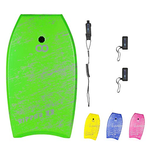WOOWAVE Bodyboard 33-inch/36-inch/41-inch Super Lightweight Body Board with Coiled Wrist Leash, Swim Fin Tethers, EPS Core and Slick Bottom, Perfect Surfing for Kids Teens and Adults(36 inch, Green)
