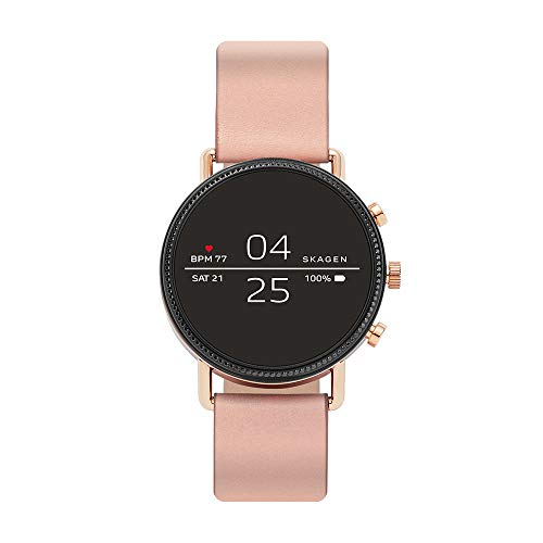 Skagen Connected Falster 2 Stainless Steel and Silicone Touchscreen Smartwatch, Color: Rose Gold, Pink (Model: SKT5107)