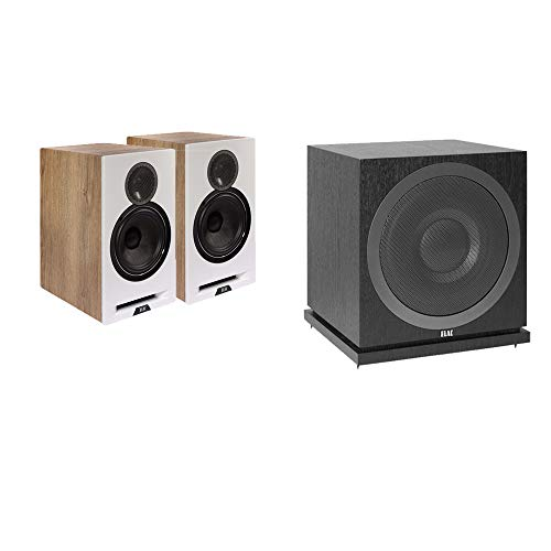 ELAC Debut Reference DBR62 Bookshelf Speakers 2.1 Channel ELAC Home Theater System Bundle - White/Oak + ELAC Subwoofer SUB3010