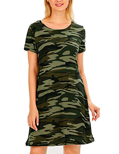FV RELAY Women's Summer Casual Short Sleeve Camo Print Dresses Stretch Swing Dress for Work (XXL,Army Green)