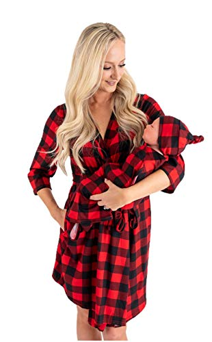 Little Adam and Eve Maternity Robe and Matching Baby Set Hospital Labor Delivery (Red Plaid, Medium)
