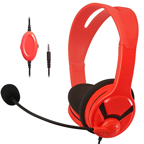 Amazon Basics Gaming Headset For Nintendo Switch, Xbox One, PlayStation 4 and PC - Red