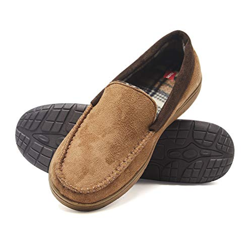 Hanes Men's Moccasin Slipper House Shoe with Indoor Outdoor Memory Foam Sole Fresh Iq Odor Protection, Tan, 3X-Large