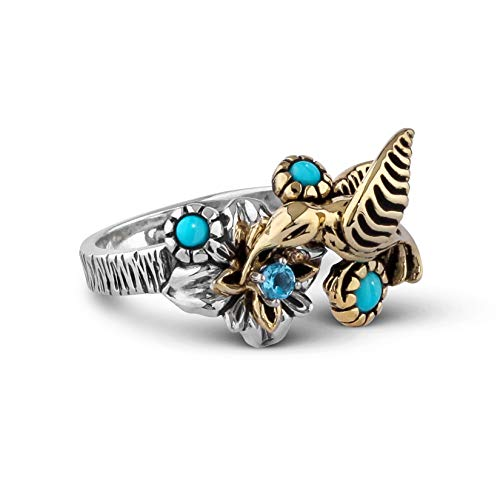 American West Sterling Silver & Mixed Metal Fritz Casuse Turquoise Blue Topaz Hummingbird Ring - Size 8