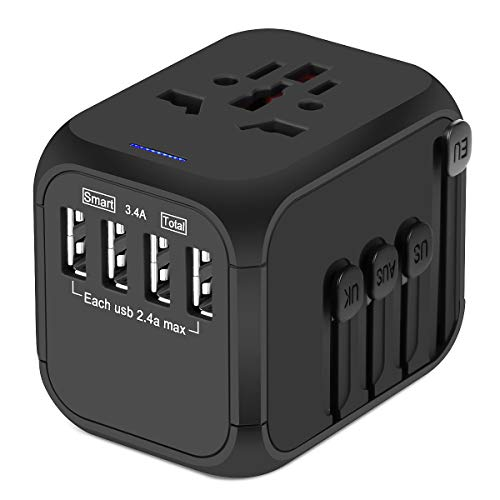 Upgraded Universal Travel Adapter, Castries All-in-one Worldwide Travel Charger Travel Socket, International Power Adapter with 4 USB Ports, AC Plug for Over 150 Countries, Travel Accessories, Black