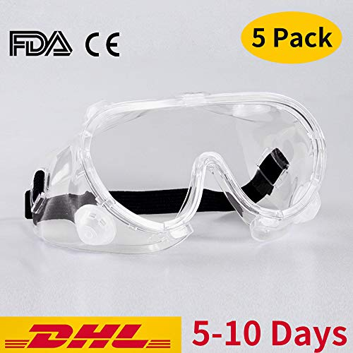 Safety Goggles Medical over Glasses Protective Eyewear Lab Glasses Clear Anti Fog Scratch-resistant Eye Protection (5 Pack)
