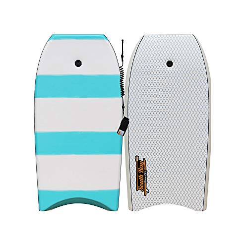South Bay Board Co. - Onda 42' Bodyboard for Beginners with Coiled Leash & Wrist Strap - Durable, Lightweight EPS Core with Smooth Top Deck & Slick HDPE Bottom Deck
