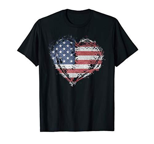 Vintage USA Heart Shape American Flag Stylish Design T-Shirt