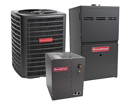 Goodman 2.5 Ton 13 SEER Air Conditioner GSX130301, Coil CAPF3636B6, 80,000 BTU 80% AFUE Upflow Gas Furnace GMH80803BN