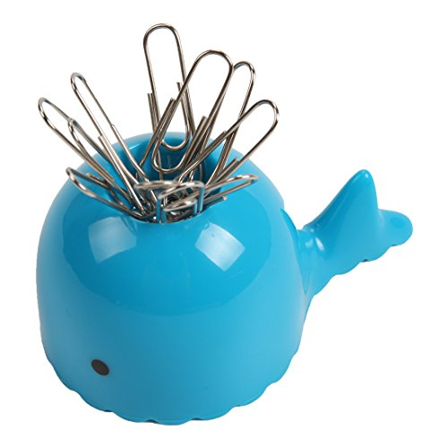 Vanki Magnetic Paper Clip Holder - Cartoon Whale Desk Accessory Blue 1PCS
