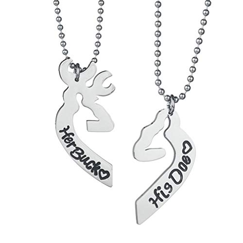 4EAELove Her Buck His Doe Couple Necklace Heart-Shaped Elk Stainless Steel Engraved Lover Pendant Gift