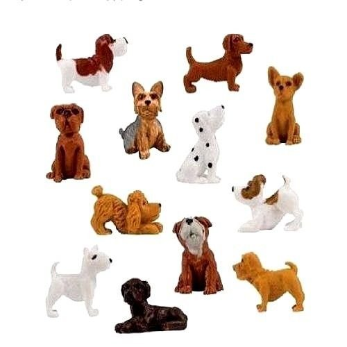 12 Pieces - Complete Set Adopt a Puppy Dog Figures Series 4 Dachshund Basset Hound Bull Terrier Jack Russell Dalmatian Black Labrador Yorkshire Boxer Bloodhound Bulldog Poodle Chihuahua Mini Toy Bag