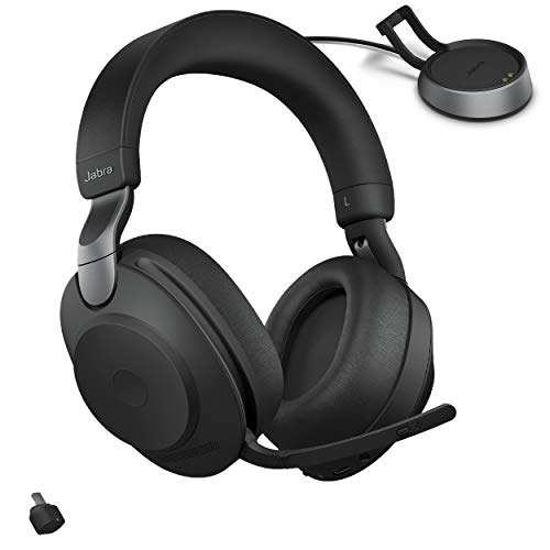 Jabra Evolve2 85 MS Wireless Headphones with Link380c & Charging Stand, Stereo, Black – Wireless Bluetooth Headset for Calls and Music, 37 Hours of Battery Life, Advanced Noise Cancelling Headphones