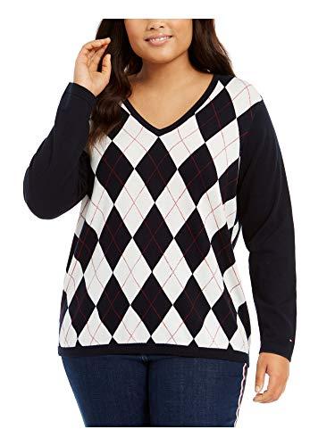 Tommy Hilfiger Womens Navy Argyle Long Sleeve V Neck T-Shirt Sweater Size 1X
