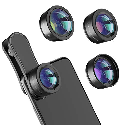 Phone Camera Lens,Upgraded 3 in 1 Phone Lens kit-198° Fisheye Lens + Macro Lens + 120° Wide Angle Lens,Clip on Cell Phone Lens Kits Compatible with Most Phones,Most Smartphones