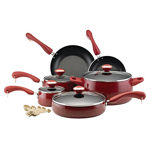 Paula Deen Signature Nonstick Cookware Pots and Pans Set, 15 Piece, Red