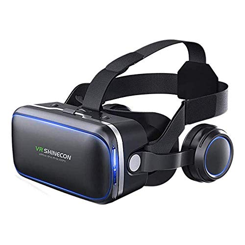 VR Headset for Cellphone, Adjustable 3D VR Glasses with Headphone for Mobile Games and Movies, Compatible 4.7-6 inch Screen iPhone & Android, Works with Google Cardboard, Black
