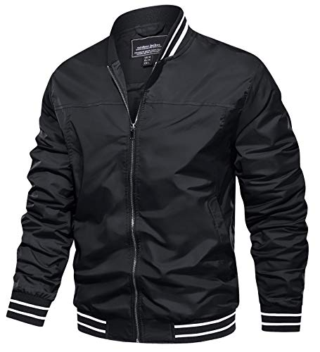 TACVASEN Men's Outdoor Sports Jackets Classic Cycling Softshell Jackets Zip Up Black, M
