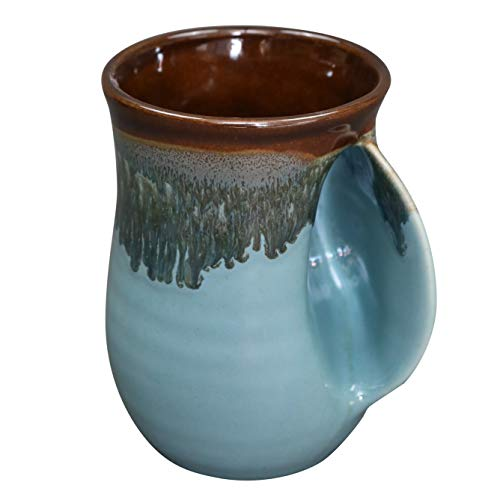 Clay in Motion Handwarmer Mug - Ocean Tide Right Hand