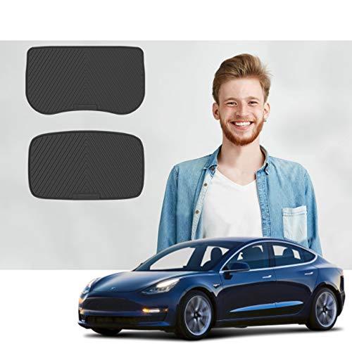Road Comforts Front Trunk Mat + Storage Mat - Tesla Model 3 All Weather Mats (Does not Include Back Trunk Mat) - 2017 2018 2019 2020 (2pcs) (Black)
