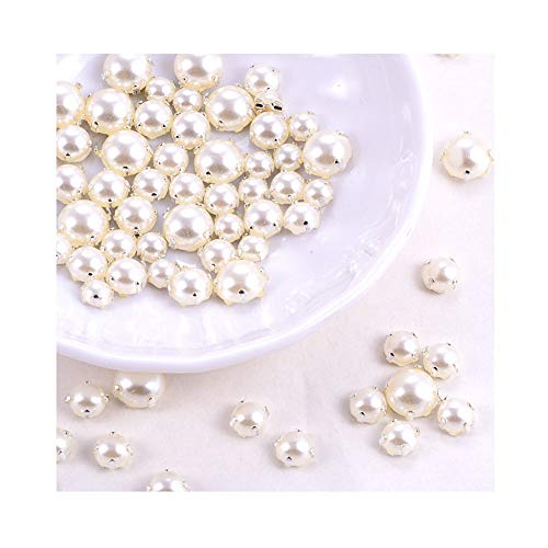 200pcs Sewing Pearl Beads, Sew on Pearls for Clothes, Crafts Pearls with Silver Claw, Half Round Sew on Beads White Pearls (Silver Claw, Mix Size 200pcs)