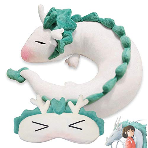 Tieesa White Dragon U Pillow + Eye Mask - Anime Cute White Dragon Neck Pillow and Eye Shade Cover, U-Shaped Travel Pillow and Travel Eye Mask Perfect for Children, Lovers, Friends