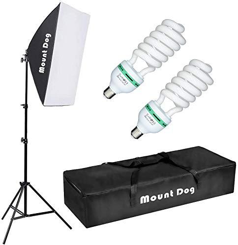 MOUNTDOG Softbox Lighting Kit 20'X28' Professional Photography Continuous Photo Studio Equipment with 2pcs 95W E27 Socket 5500K Video Lighting Bulb for Filming Portraits Shoot