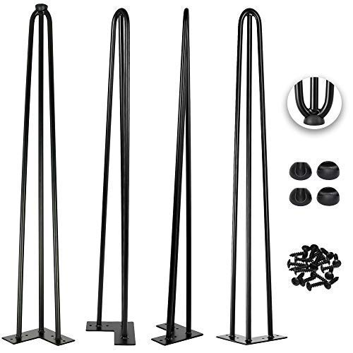 40 Inch Hairpin Legs 1/2 Inch Tick - Satin Black - Leg Protectors, Screws, Set of 4 – Easy to Install - Metal Legs - Desk Legs - Furniture Legs - Mid Century Modern by Homeland Hardware