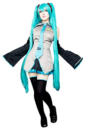 DAZCOS Adult US Size Print Oversleeves Miku Cosplay Costume with Socks (Large) Grey