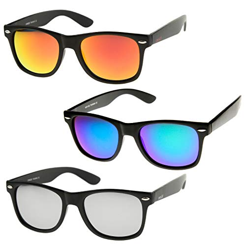 zeroUV - Retro 80's Classic Colored Mirror Lens Square Horn Rimmed Sunglasses for Men Women (3 Pack | Orange + Green-Blue + Silver)