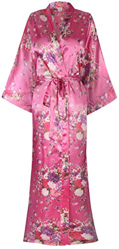 Women's Silk Kimono Robe Long Robes with Blossoms Printed Bridesmaid Wedding Nightgown