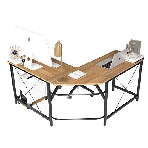 Soges L Shaped Desk Corner Computer Desk Gaming Table Office Workstation Desk, Oak LD-Z01OK