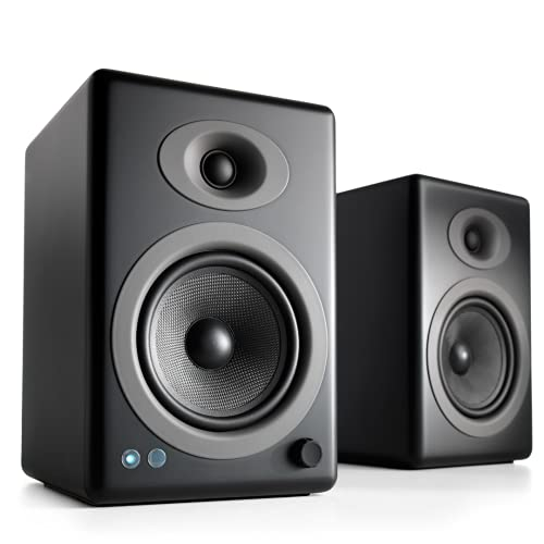 Audioengine A5+ Plus Wireless Speaker   Desktop Monitor Speakers   Home Music System aptX HD Bluetooth,150W Powered Bookshelf Stereo Speakers, AUX Audio, USB, RCA Inputs/Outputs, 24-bit DAC (Black)