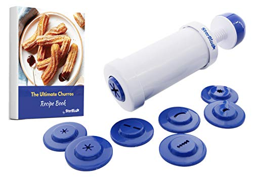 Churrera Churro Maker by StarBlue with FREE Recipe e-Book - Easy tool for Deep Fry churro in 8 difference shapes