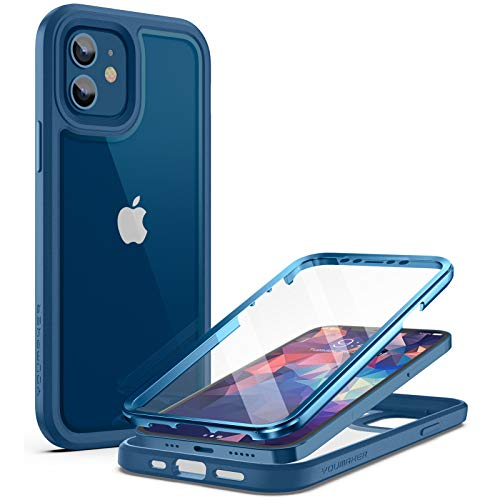 YOUMAKER Aegis Series for iPhone 12 Case & iPhone 12 Pro Case, Full-Body with Built-in Screen Protector Rugged Clear Case for iPhone 12/12 Pro Case 6.1 Inch - Deepblue