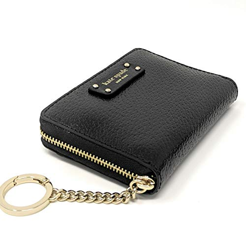 Kate Spade New York Kate Spade Continental Jeanne Leather Zip Around Small Wallet Key Chain Ring Black