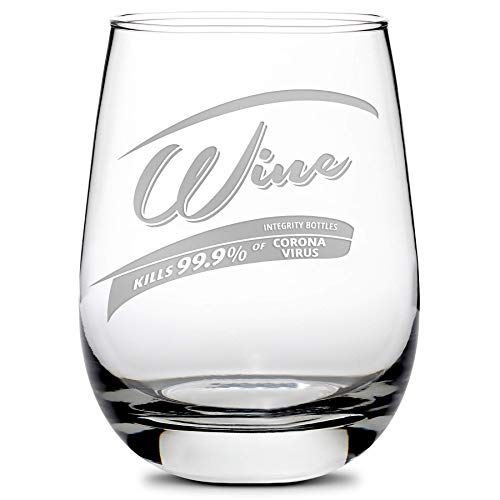 Integrity Bottles Premium Wine Glass - Corona Killer Parody Stemless Drinking Glasses - Best Sand-Carved Gifts for Women and Men - Made in USA - 16 oz