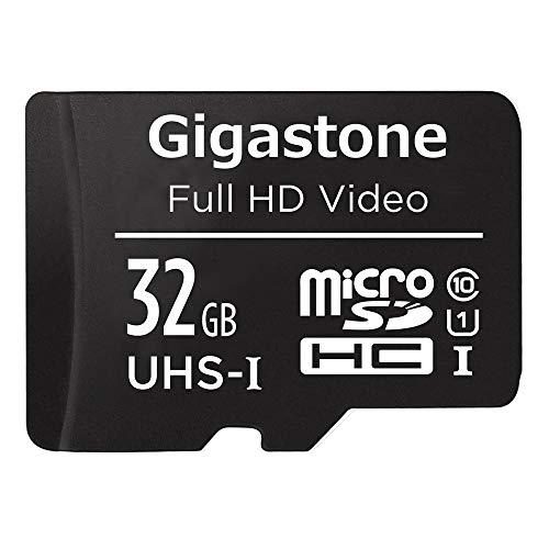 Gigastone 32GB Micro SD Card with Adapter, U1 C10 Class 10 90MB/S, Full HD available, Micro SDHC UHS-I Memory Card - Full HD Video Series