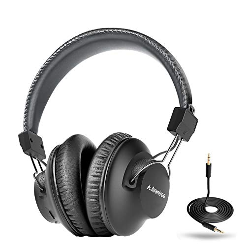 Avantree Audition Bluetooth 5.0 40 hr Wireless & Wired Over Ear Headphones with Mic for Computer TV Watching, Extra Comfortable & Lightweight, HiFi Stereo Headset for PC Laptop Cell Phone – Gray
