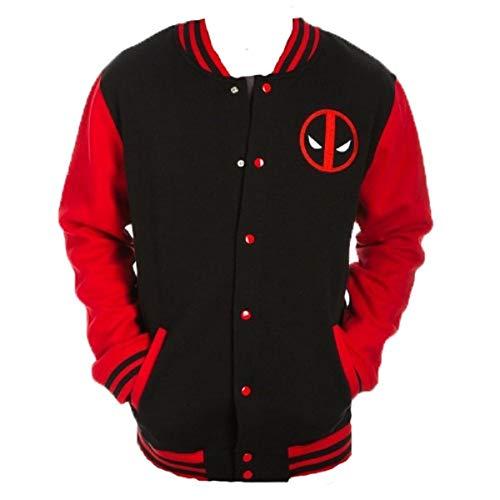 Marvel Deadpool Logo Mens Letterman Jacket Medium Black